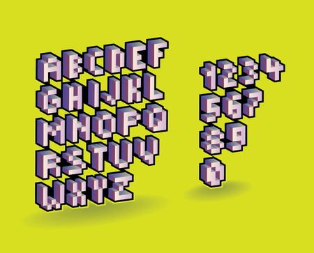 three dimensional: 3d pixel alphabet font and numbers. Vector