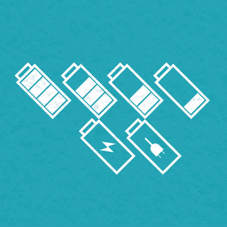 cadmium: Set of tilted battery icons. Vector