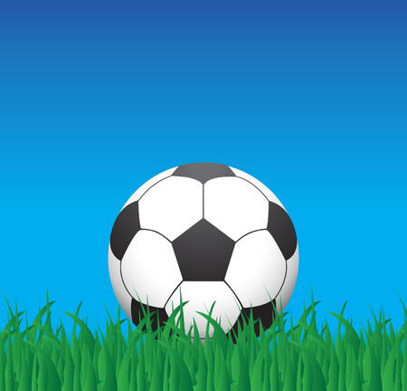 Soccer ball in grass, illustration Vector