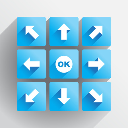 Navigation buttons, arrows in the flat style Vector
