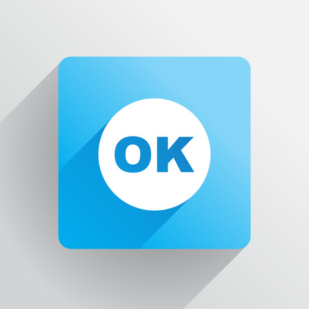 OK button in flat style, illustration Illustration