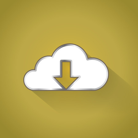 blue buttons: Cloud downloading icon in flat design