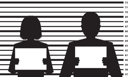 crook: Police criminal record with man and woman silhouette - illustration