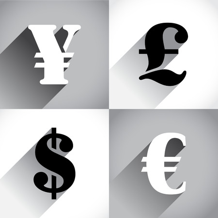 converter: Euro, Dollar, Pound and Yen in flat style