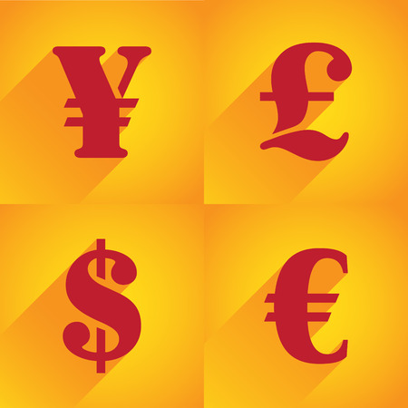 currency converter: Euro, Dollar, Pound and Yen in flat style
