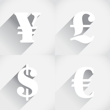 Euro, Dollar, Pound and Yen in flat style Vector