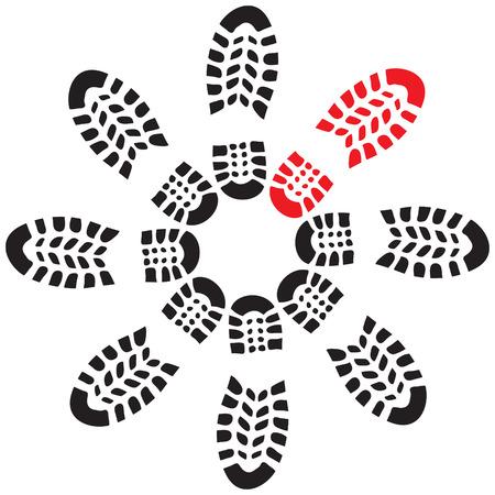 shoe print: Shoe print illustration in circle Illustration