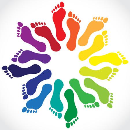 huellas de pies: Huellas en un círculo, ilustración Vectores