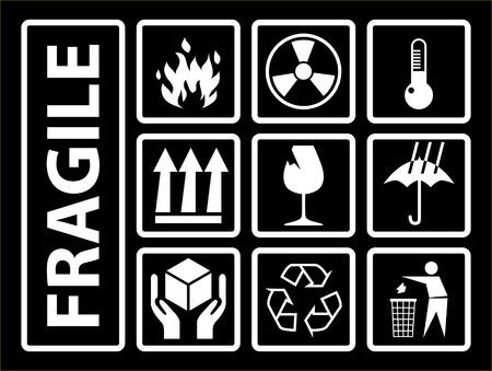 Fragile symbols, using on cardboards box