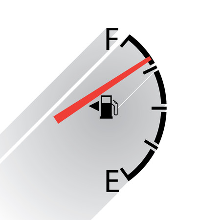 empty tank: Gas gage, in flat design Illustration