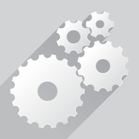 cogs and gears: Cogs, cogwheels, gears - in flat design