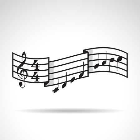 Music signature and bars with notes. Illustration Vector