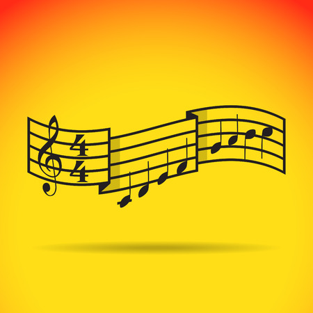 crotchets: Music signature and bars with notes. Illustration
