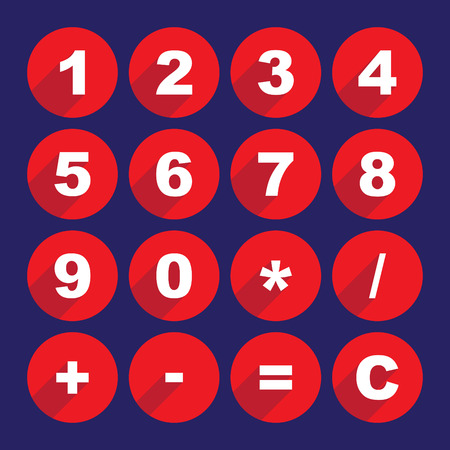 web 2 0: Simple calculator buttons in flat design