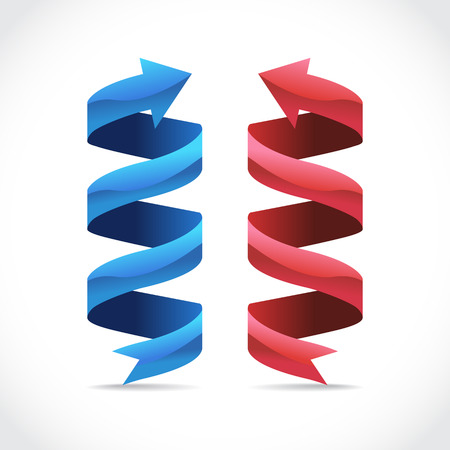 wrap wrapped: Set of ad ribbon, 360¡ wrapped around own axis, illustration