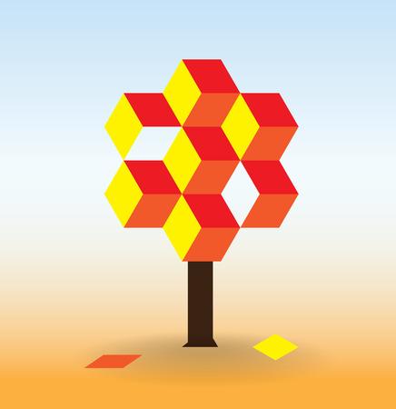 autumn colour: Autumn tree created from colour cubes Illustration