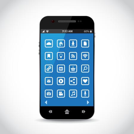 sistema operativo: Tel�fono celular con los iconos planos Vectores