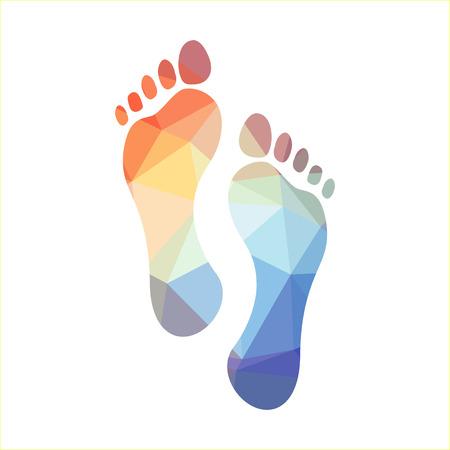 green footprint: Multicolored polygonal footprints, illustration
