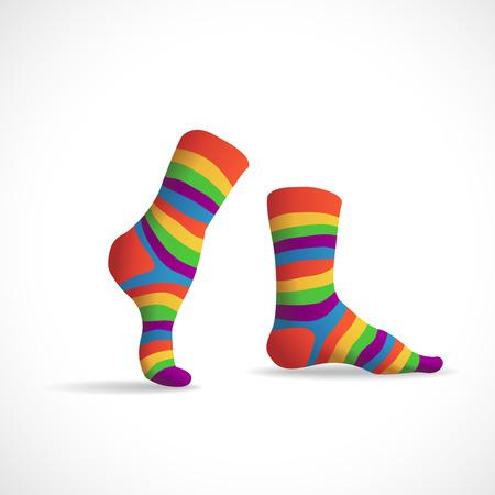 white socks: Striped multicolor socks, illustration Illustration