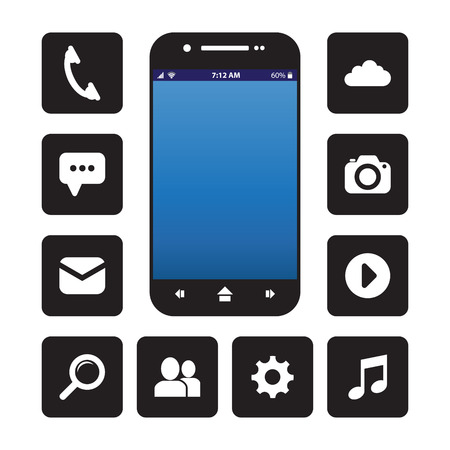 cellphone icon: Cellphone with app icons