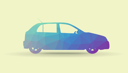 low tire: Polygonal car from a side, illustration Illustration