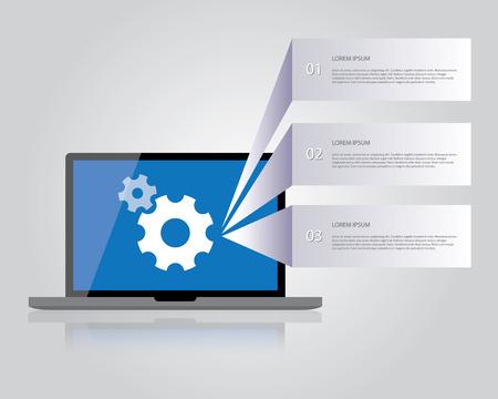 pc tune: Laptop icon, settings Illustration
