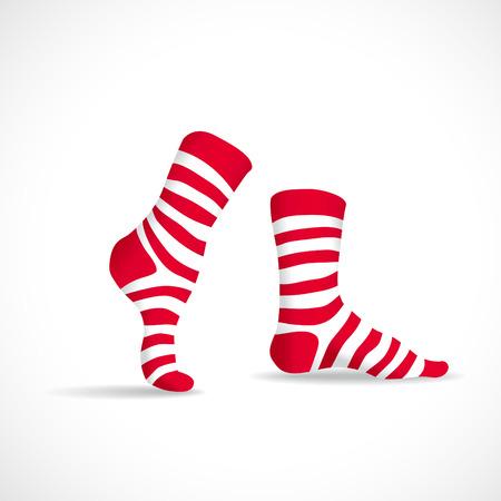 white socks: Stripped socks, illustration Illustration