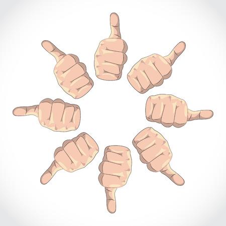 gestures: Set of thumbs, expressing various gestures