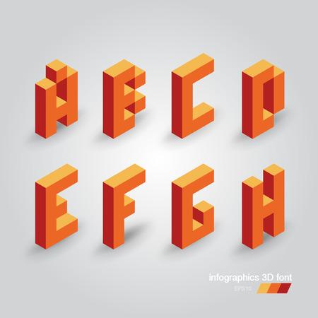 Set of 3d vector pixel alphabet