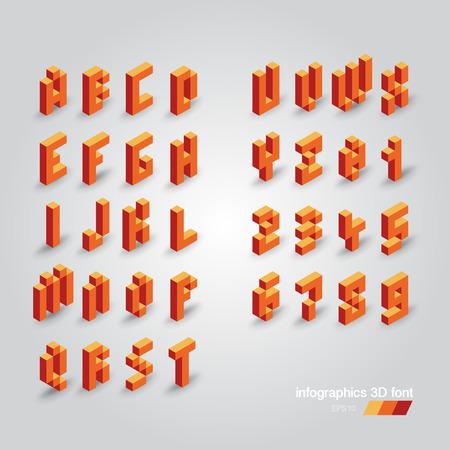 Set of 3d vector pixel alphabet and numbers Vector