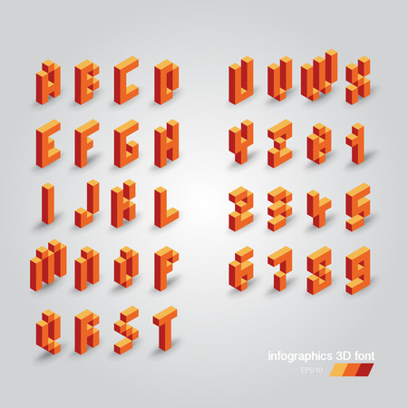 corporal: Set of 3d vector pixel alphabet and numbers