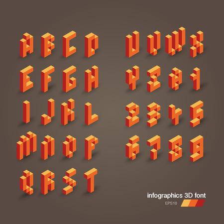 3d vector pixel alphabet and numbers Vector