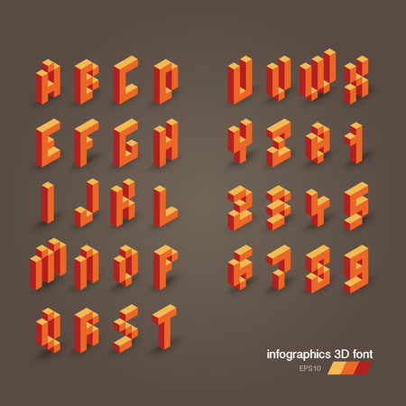 corporal: 3d vector pixel alphabet and numbers