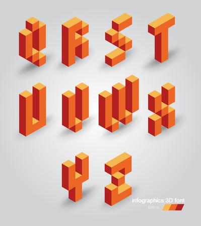 Set of 3d vector pixel letters Vector