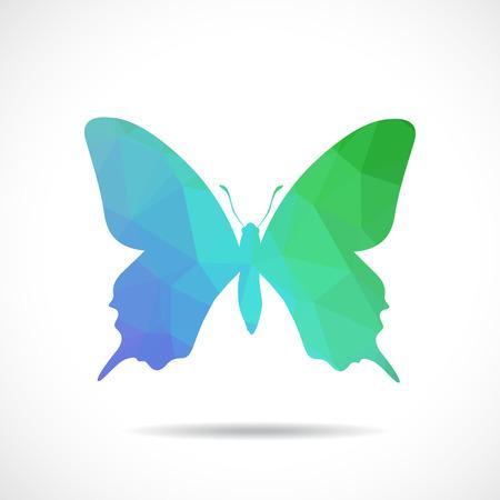 oruga: Ilustración poligonal de mariposa Vectores