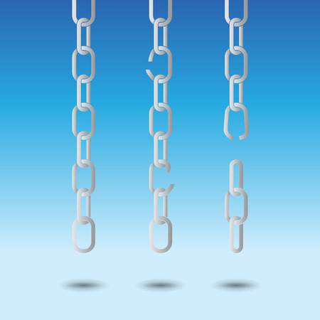 unchain: Set of chains, on light blue background