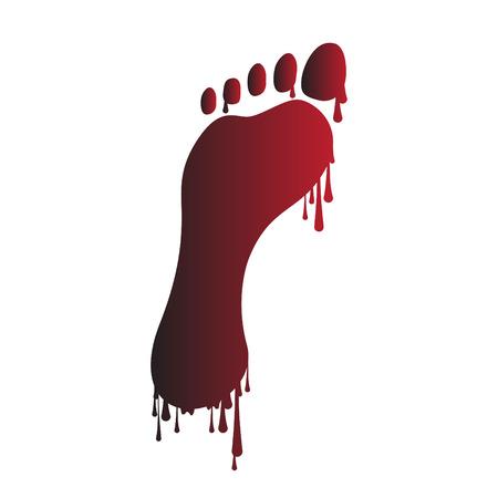 huella pie: Huella con la pintura del goteo (o sangre)