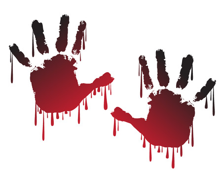 bloody hand print: Handprint with dripping paint Illustration