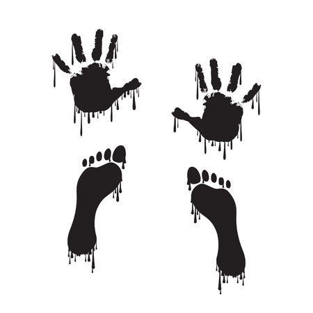 dripping paint: Handprint and footprint with dripping paint