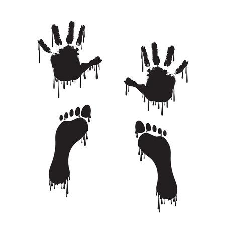 huellas pies: Huella de la mano y de la huella con la pintura del goteo
