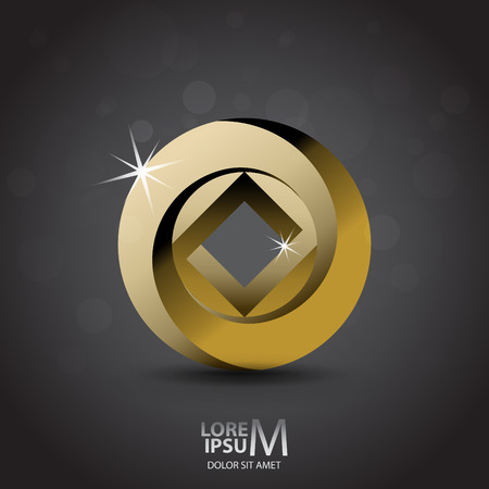 gold ring: Impossible looped circle and square vector icon. Luxury symbol