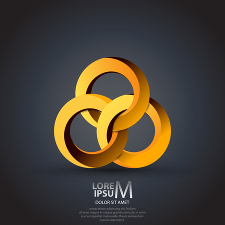 intertwined: Abstract circles icon. Technology, business, corporate logo design template