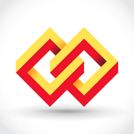 looped: Impossible rectangles loop vector icon.