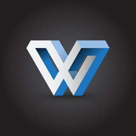w: Impossible looped W letter, vector icon.