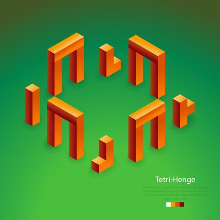 stonehenge: Elements, 3d cubic blocks expressing Stonehenge Illustration