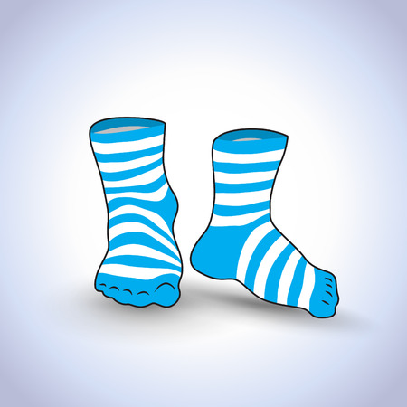 white socks: A pair of striped socks on a light background