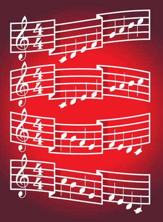 tact: Musical scale and bars with notes. Illustration