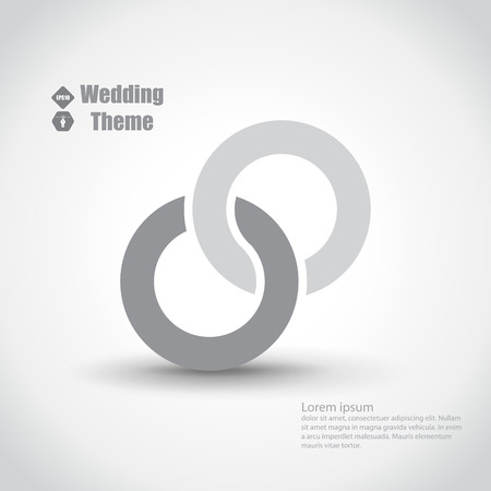 silver ring: Wedding theme with two intertwined rings. Light color template