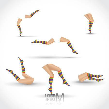 legs stockings: Women legs with striped colorful socks, set of. Various moves and positions