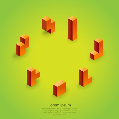 tetris: Elements template with 3d colorful cubic blocks